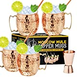 Moscow Mule Copper Mugs - Set of 4 100% Handcrafted Food Safe Pure Solid Copper Mugs - 16 oz Gift Set with Bonus: Highest Quality Cocktail Copper Straws and Jigger