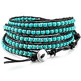 MOWOM Green Alloy Genuine Leather Bracelet Bangle Cuff Rope Simulated Turquoise Bead 5 Wrap Adjustable