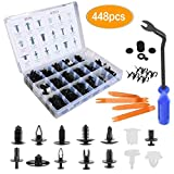 Funceter Auto Push Clips Car Retainer Clips Car Trim Fasteners Clips Kit Sizes Car Clips Fender and Bumper Fittings Clips Compatible (448 pcs)