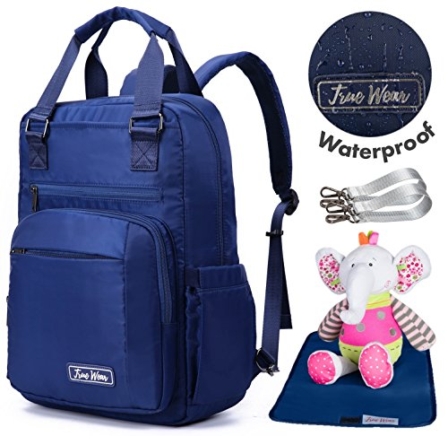 Happy Blue 3-in-1 Diaper Backpack Baby Bag Waterproof with Infant Changing Pad, Wipe Pocket and Stroller Straps. Carry All Bag for Baby Boy and Baby Girl