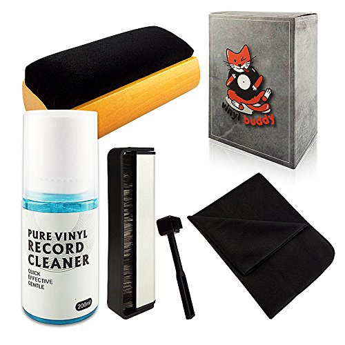 Vinyl Buddy - Complete 5 Piece Vinyl Record Cleaning kit Includes: Record Cleaner - Microfiber Cloth - Velvet Brush - Microfiber Brush & Stylus Brush