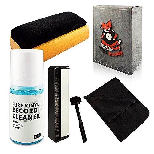 Vinyl Buddy - Complete 5 Piece Vinyl Record Cleaning kit Includes: Record Cleaner - Microfiber Cloth - Velvet Brush - Microfiber Brush & Stylus Brush