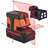 Tacklife Laser Level with 3-Point Alignment,Self Leveling Horizontal/Vertical Line and Cross-Line - Enhanced Strong Magnetic Base, Soft Carrying Pouch, Batteries Included SC-L06