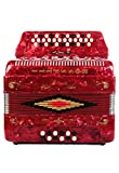 Rossetti 34 Button Accordion 12 Bass 3 Switches GCF Red