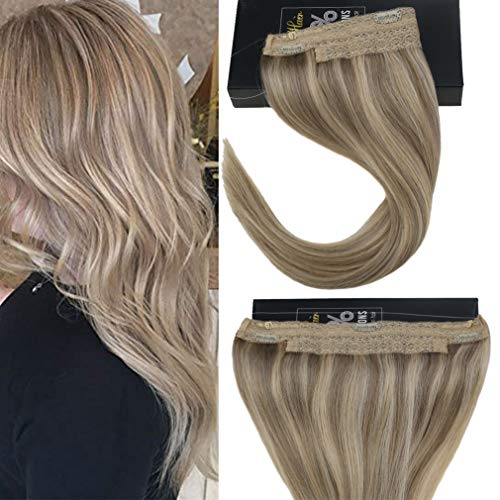 Sunny Hair 12inches Halo Hair Extensions Human Hair Golden Blonde Highlight with Medium Blonde Flip on Hair Extensions
