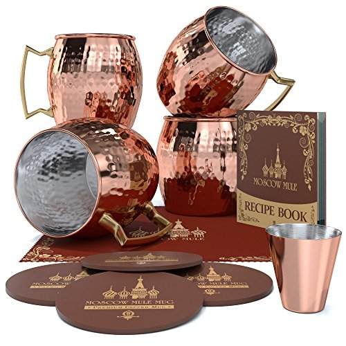Krown Kitchen - Hammered Moscow Mule Copper Mug Set of 4| Stainless Steel Lining | 16 oz