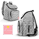 Baby Diaper Bag Backpack - Stylish Modern Baby Backpack for Mom or Dad | Insulated Bottle Holders & Tons of Storage Space | Easy-Glide Zippers, Padded Straps, Waterproof | Unisex Design in Gray