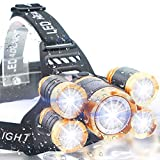 Soft Digits Headlamp, 12000 Lumen Ultra Bright 5 LED Headlight, USB Rechargeable Head Lamp Flashlight, 4 Modes Waterproof Zoomable Work Light for Outdoors, Household