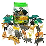 Boley 40PC Wild Safari Animal Toy Figurines Bucket Playset Toys for Kids - Figures Great for Toddlers