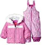 London Fog Baby Girls Snowsuit with Snowbib and Puffer Jacket, Pink/Purple Blossom, 24MO