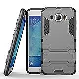 Funda para Samsung Galaxy J7 2016 (5,5 Pulgadas) Híbrida Rugged Armor Case Choque Absorción Protección Dual Layer Bumper Carcasa con pata de Cabra (Gris)