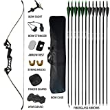 D&Q Takedown Recurve Bow and Arrow for Adults Kit 30 35 40 45 50 55 60lb Aluminum Alloy Riser Hunting Shooting Practice Competition Archery Longbow Set with Bow Case Right Hand (Black, 70lb)
