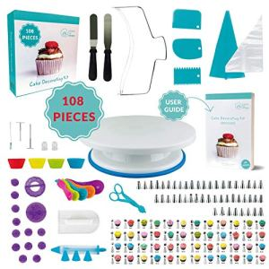 108 Pcs Cake Decorating KIT | Non-Slip Turntable | Leveler 2-Wire | 48 Numbered Icing Tips | Straight & Angled Spatulas | 10 Pastry Bags & Silicone Bag | 2 Flowers Nails & Lifter | Gift Box 51mezFo4ThL