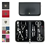 3 Swords Germany - brand quality 10 piece manicure pedicure grooming kit set for professional finger & toe nail care scissors clipper fashion leather case in gift box, Made by 3 Swords (00286)