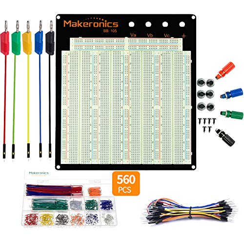 Makeronics-Solderless-3220-Tie-Points-Experiment-Plug-in-Breadboard-Aluminum-Back-Plate-with-560-U-Shape-Jumper-Wires-65-Jumper-Wires-5-PCS-Banana-Plug-to-Jumper-Wires