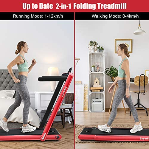 Goplus 2 in 1 Folding Treadmill with Dual Display, 2.25HP Under Desk Electric Pad Treadmill, Installation-Free, Bluetooth Speaker, Remote Control, Walking Jogging Machine for Home/Office Use 2