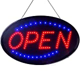 Large LED Neon Open Sign for Business Displays: Oval Light Up Sign Open with 2 Flashing Modes - Electronic Lighted Signs for Hair Salons, Hotels (23 x 14 inches, Model 3)
