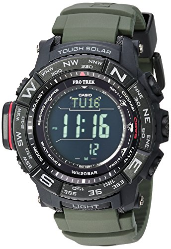 Casio Men's 'PRO TREK' Quartz Stainless Steel and Silicone Casual Watch, Color:Green (Model: PRW-3510Y-8CR)