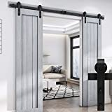"EaseLife 8 FT Double Door Sliding Barn Door Hardware Track Kit - Heavy Duty | Easy Install | 8FT One Piece Track | Slide Smooth Quiet | Fit Double 24"" Wide Door 