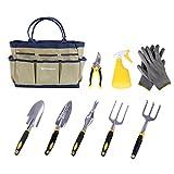 SONGMICS 9 Piece Garden Tool Set Includes Garden Tote and 6 Hand Tools Heavy Duty Cast-aluminum Heads Ergonomic Handles UGGB31L