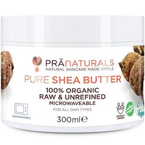 PraNaturals 100% Organic Shea Butter 300ml, Raw Unrefined Extra Virgin A Grade African Pure Ivory All-Natural, Smooth Shea Nut Lip Balm Body Butter Moisturiser Cream Lotion for All Skin Face Hair Type 51mjNdCl9kL
