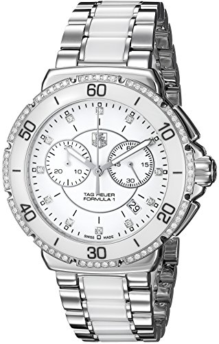 51mk7pQnUiL Stainless steel watch with diamond-set bezel, white ceramic center link on bracelet, and diamond hour markers Swiss quartz movement with analog display Protective anti-reflective sapphire crystal dial window