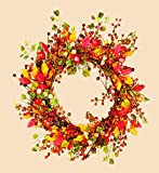 Worth Imports Fall Berry Wreath with Foliage, 18""