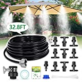 HIRALIY Misting System Outdoor Misting Cooling System 32.8FT (10M) Misting Line+10 Mist Nozzles+3/4' Metal Threaded Adapter for Patio Garden Greenhouse Umbrellas Trampoline