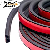 CloudBuyer 33Ft Long Self Adhesive Automotive Rubber Weather Draft Seal Strip Weatherstrip for Car Window Door Soundproofing Engine Cover(B Shape 5M/Pack,2Pack Total 10M)