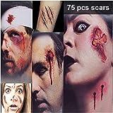 Zombie Makeup Tattoos, Halloween Zombie Makeup Kit, Scar Tattoos, 3(Large)+6(Small) Pack Vampire Bite Tattoo, Fake Scars, Halloween Makeup Kit, Waterproof Fake Blood, Safe Zombie Makeup Kit for Kids