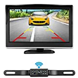 iStrong Backup Camera Wireless 5'' Monitor Kit for Car/SUV/Minivan/Pickups/Smaller Truck Waterproof License Plate Rear View /Front View Camera 7 White Light LED Night Vision Guide Lines ON/OFF