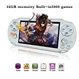 BAORUITENG Handheld Game Console , Retro Game Console with 3000 Classic Games 4.3' 64 Bit Portable Game Console Support / Camera GBA / GBC / SEGA / NES / SFC / NEOGEO and Loss-Less Music (White)
