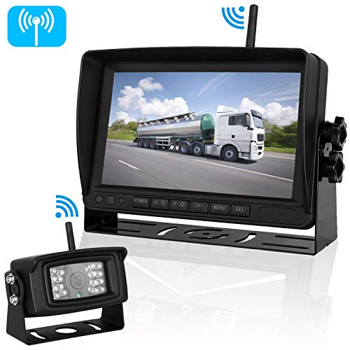 iStrong Digital Wireless Backup Camera System for RV/Truck/Trailer/5th Wheel/Motorhome Range 450ft No Flickers with 7'' Monitor Kit Rear/Front/Side View Camera Guide Lines ON/OFF IP69 Waterproof