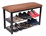 Product review for BirdRock Home Entryway Storage Bench with Shoe Rack | Brown | Cushion Seat | Metal