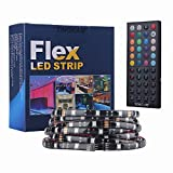 Tingkam 16.4 ft 5M Waterproof 5050 SMD RGB LED Flexible Strip Light Black PCB Board Color Changing Decoration Lighting 150 LEDs Kit + 44 Key Remote Controller+ 2.5A US Power Adapter