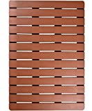 I FRMMY Premium Large Bath Tub Shower Floor Mat Made of PS Wood- Suitable for Textured and Smooth Surface- Non Slip Bathroom mat with Drain Hole- 20' x 28.5' (Teak Color)