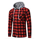 Neal LINK Men's Soft Long Sleeve Flannel Plaid Checker Flannel Hood Button Down Shirt Top (Red, US Size M(Lable Size 2XL))