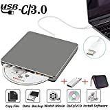External DVD CD Drive USB3.0 NOLYTH USB C Superdrive DVD+/-RW CD+/-RW Writer Burner Player with Aluminum alloy for Mac/Macbook Pro/Air/Laptop/Windows(Grey)