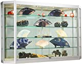 Product review for Wall-Mounted Silver Aluminum Glass Display Cabinet, Illuminated, Angled Front, Illuminated, Locking Sliding Doors, Ships Fully Assembled