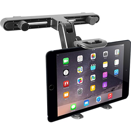 Macally Adjustable Car Seat Headrest Mount and Holder for Apple iPad Air / Mini, Samsung Galaxy Tab, Kindle Fire, Nintendo Switch, and 7' to 10' Tablets (HRMOUNT)