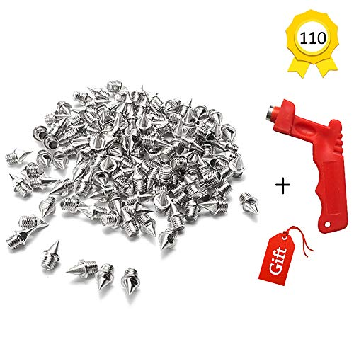 Augsun 110pcs 1/4 Inch Stainless Steel Track and Cross Country Spikes with Spike Wrench, Replacement Spikes for Sprint Sports Short Running Shoes