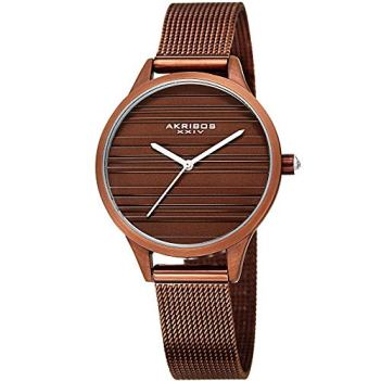 Akribos XXIV Striated Classic Designer Watch - Clean and Unique Dial Women's Quartz Watch on Mesh Bracelet - AK1005