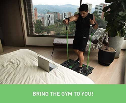 BodyBoss 2.0 - Full Portable Home Gym Workout Package + Resistance Bands - Collapsible Resistance Bar, Handles - Full Body Workouts for Home, Travel or Outside 5