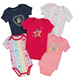 Juicy Couture Baby Girls 5 Pieces Pack Bodysuits, Navy/Pink/Print, 18M