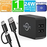Kindle Fire Fast Charger, 5V 2.4A AC Adapter with Micro-USB Cable for Amazon Kindle Fire HD, HDX 6' 7' 8.9' 9.7', Fire 7 8 10 Tablet/Phone, Dual Port Wall Charger&USB C 2 in 1 Cable for Samsung S4/S5