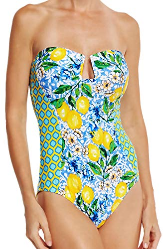 71LdpwSHAoL Sexy One Piece Bathing Suit Bandeau Neckline with Cut Out Detail at Bust Mixed Print Design in Bright Floral Colors Also Comes with 2 Removable Adjustable Length Shoulder Straps