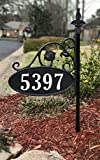 Yard Sign Address Plaque with Highway-Grade Reflective Vinyl House Numbers Wrought Iron Look, Oval, Black, Double Sided House Plate, 911 Visibility Signage, Elegantly Handcrafted in USA, 30' Pole