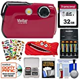 Vivitar ViviCam 8119 Digital Camera (Red) with 32GB Card + Batteries & Charger + Case + Sticker Pack + Kit