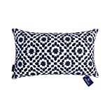 Aitliving Decorative Throw Pillow Cover Cotton Canvas Muted Slate Dark Blue Trellis Embroidery Mina Lumbar Pillowcase Cushion Cover, 1 pc 12x20 inch, 30x50cm