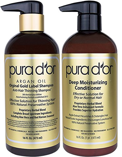 PURA D'OR Original Gold Label Anti-Thinning Shampoo & Deep Moisturizing Conditioner Set, Clinically Tested, Rich in Natural Ingredients, All Hair Types, Men & Women, 16 fl oz (Packaging may vary)